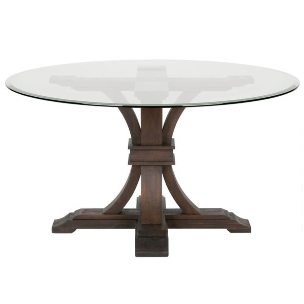 Beau Shop Darby 54 Inch Round Glass Dining Table, Rustic Java   Brown   Free  Shipping Today   Overstock   13982284