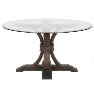 Darby 54-inch Round Glass Dining Table, Rustic Java