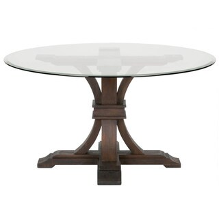 Darby 54-inch Round Glass Dining Table, Rustic Java - Brown