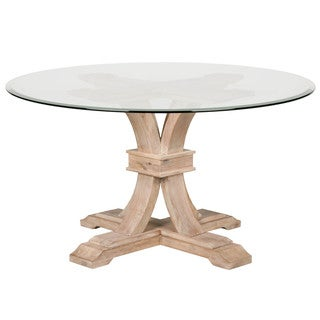 Darby 54-inch Round Glass Dining Table, Stone Wash