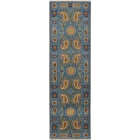 Handmade Kazak Wool Runner (India) - 2'8 x 10'