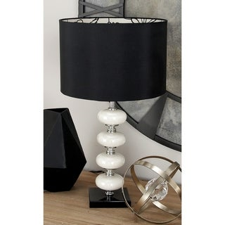 Libby White/Black Metal/Glass Contemporary Table Lamp Pair
