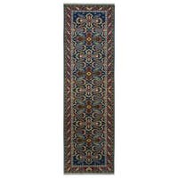 Herat Oriental Indo Hand-knotted Tribal Kazak Wool Runner (2'8 x 10')