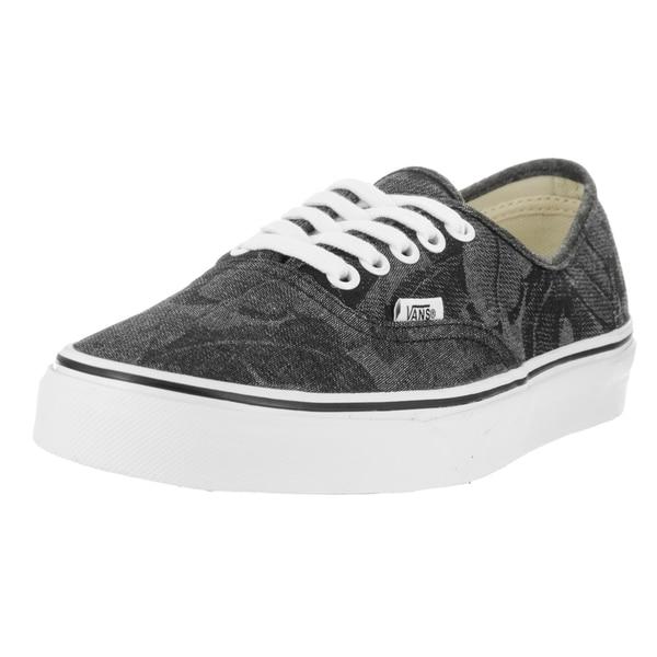 Vans Unisex Authentic (Chambray Leaves) Black Canvas Skate Shoes