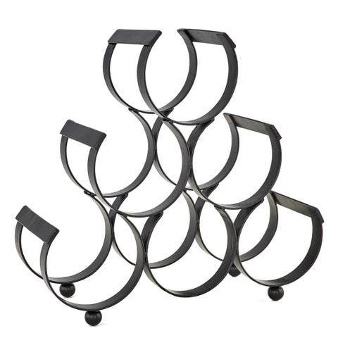 Carbon Loft Alderson Black Cast Iron 6-bottle Wine Rack