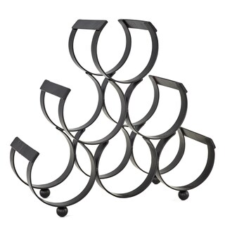 Palm Canyon Adelaar Black Cast Iron 6-bottle Wine Rack