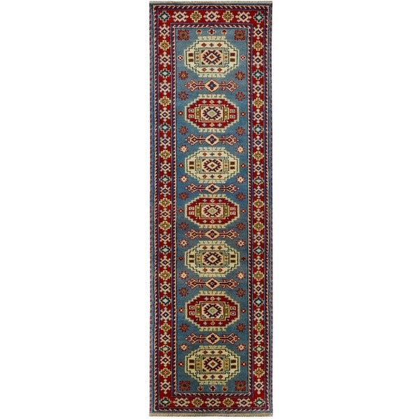 Handmade Herat Oriental Indo Tribal Kazak Wool Runner (India) - 2'8 x 10'
