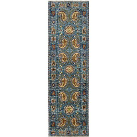 Handmade Kazak Wool Runner (India) - 2'8 x 8'