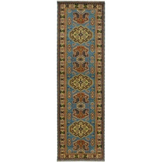 Herat Oriental Indo Hand-knotted Tribal Kazak Wool Runner (2'8 x 8')