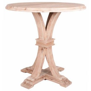 Gray Manor Darby Beige Acacia Wood Round Bar Height Dining Table