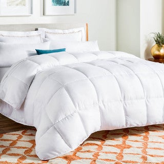 LINENSPA Down Alternative Reversible Quilted Queen Size Comforter with Corner Duvet Tabs in White (As Is Item)