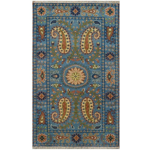 Handmade Kazak Wool Rug (India) - 3' x 5'