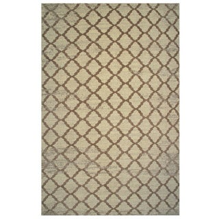 Aquarelle Collection Brown Trellis Pattern Area Rug, 8 ft. x 11 ft.