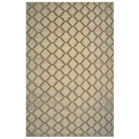 Aquarelle Collection Brown Trellis Pattern Area Rug