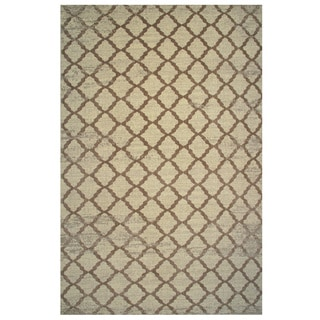 Aquarelle Collection Brown Trellis Pattern Area Rug, 5 ft. x 8 ft.