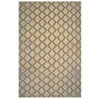 Aquarelle Collection Brown Trellis Pattern Area Rug (5'3 x 7'6)