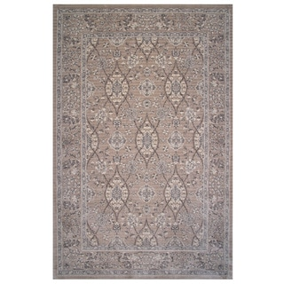 Aquarelle Collection Tan Oriental Area Rug, 5 ft. x 8 ft
