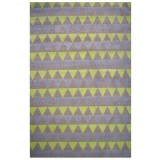 Botticelli Collection Purple and Green Triangles Area Rug, 5'x8'