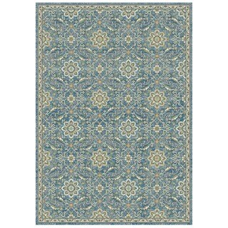 Granada Collection Blue Floral Ornamental Pattern Area Rug 8'x11'