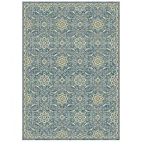 Granada Collection Blue Floral Ornamental Pattern Area Rug 8'x11' - 8' x 11'