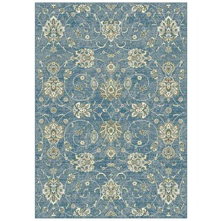 Granada Collection Blue Floral Pattern Area Rug 8'x11'