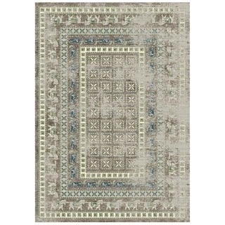 Granada Collection Ornamental Blue Horse Print Area Rug 8'x11'
