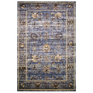 Leonardo Collection Violet Blue Oriental Rug (5'3 x 7'6)