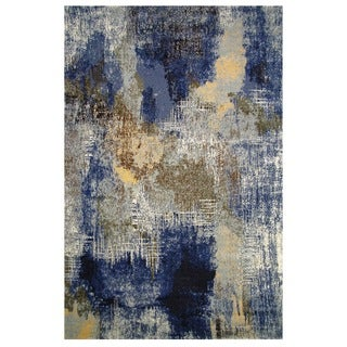 Leonardo Collection Blue and Gold Abstract Rug, 8 ft. x 11 ft.