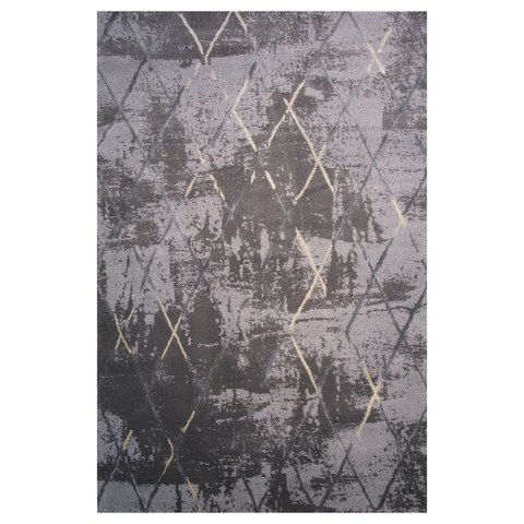 Prestige Collection Black and Gray Diamond Print Rug,