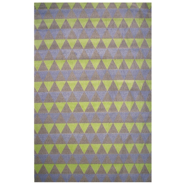 Botticelli Collection Purple and Green Triangles Area Rug, - 2' x 4'