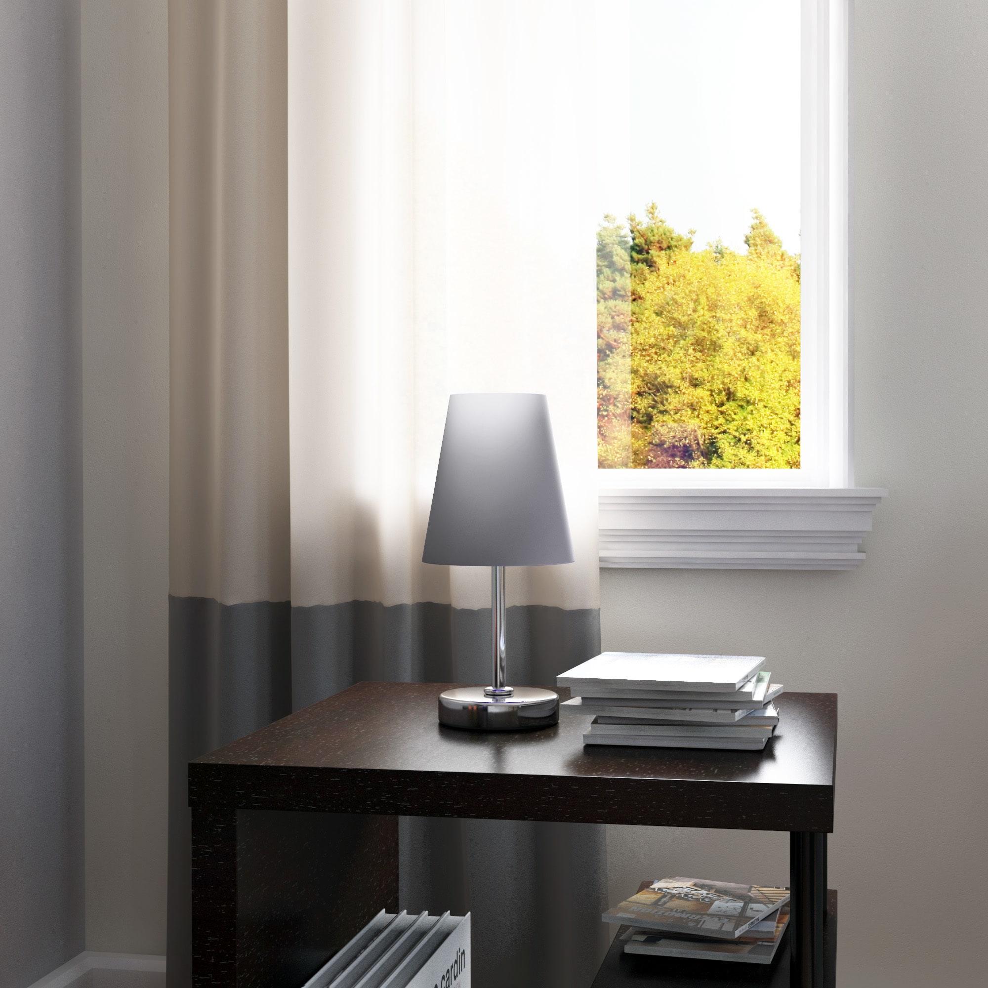 thumbnail 7 - Porch-amp-Den-Custer-Sand-Nickel-Fabric-Shade-Mini-Table-Lamp