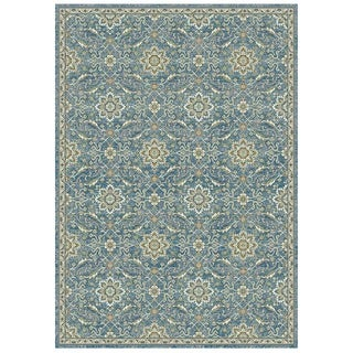 Granada Collection Blue Floral Ornamental Pattern Area Rug 5'x8