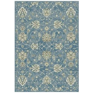 Granada Collection Blue Floral Pattern Area Rug 5'x8'