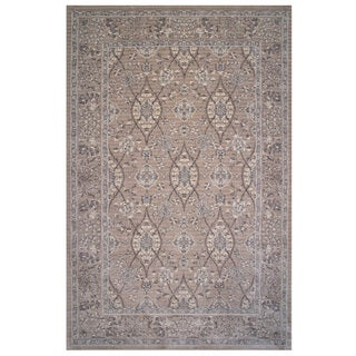 Aquarelle Collection Tan Oriental Area Rug, 2 ft. x 8 ft