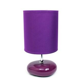 Simple Designs Stonies Fabric Drum Shade Ceramic Bedside Lamp