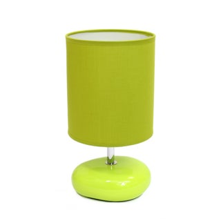 Simple Designs Stonies Fabric Drum Shade Ceramic Bedside Lamp (Option: Green)