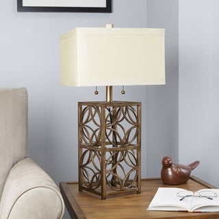 The Arden Two-pull Gold Metal Table Lamp with Ivory Shade