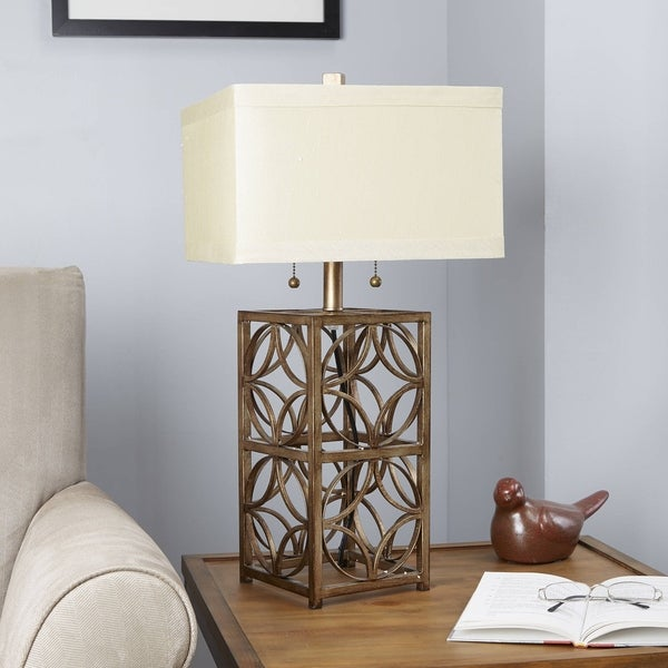 Silver Orchid Grahame 2-pull Goldtone Metal Table Lamp with Ivory Shade