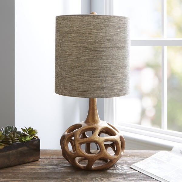 The Curated Nomad Altamira Gold Table Lamp with Shade