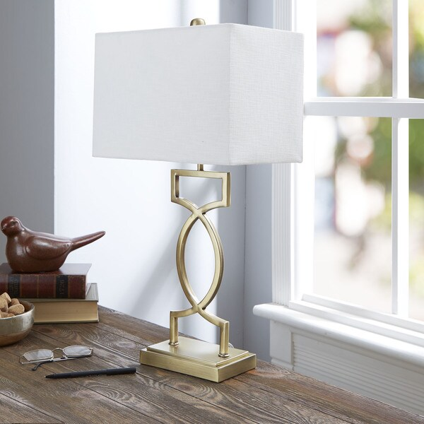 The Estelle Gold-tone Table Lamp with Rectangular Shade