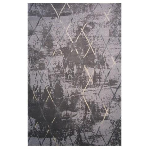 Prestige Collection Black and Gray Diamond Print Rug,