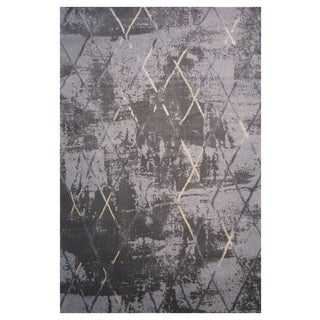 Prestige Collection Black and Gray Diamond Print Rug, 2 ft. x 8 ft
