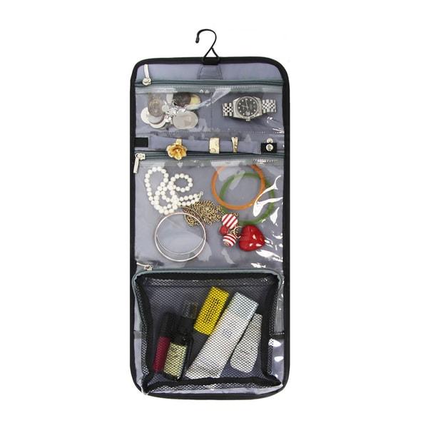Goodhope Black Satin, Microfiber, and Plastic Portable Jewelry Organizer
