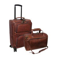 Amerileather Chestnut Brown Leather Croco-Print Two Piece Spinner Luggage Set
