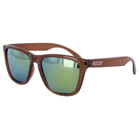 Nectar Mens Breck Polarized Rectangular Sunglasses - Brown/Gold