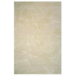 Prestige Collection Cream and Gold Abstract Rug, 2 ft. x 8 ft