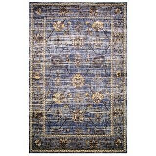 Leonardo Collection Violet Blue Oriental Rug, 2 ft. x 8 ft.