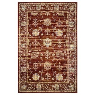 Leonardo Collection Red Oriental Rug, 2 ft. x 8 ft.