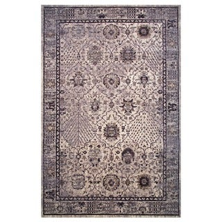 Hermes Collection Gray and Cream Oriental Rug, 2 ft. x 8 ft.