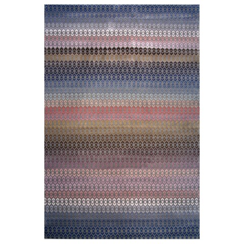 Hermes Collection Rainbow Geometric Striped Rug,